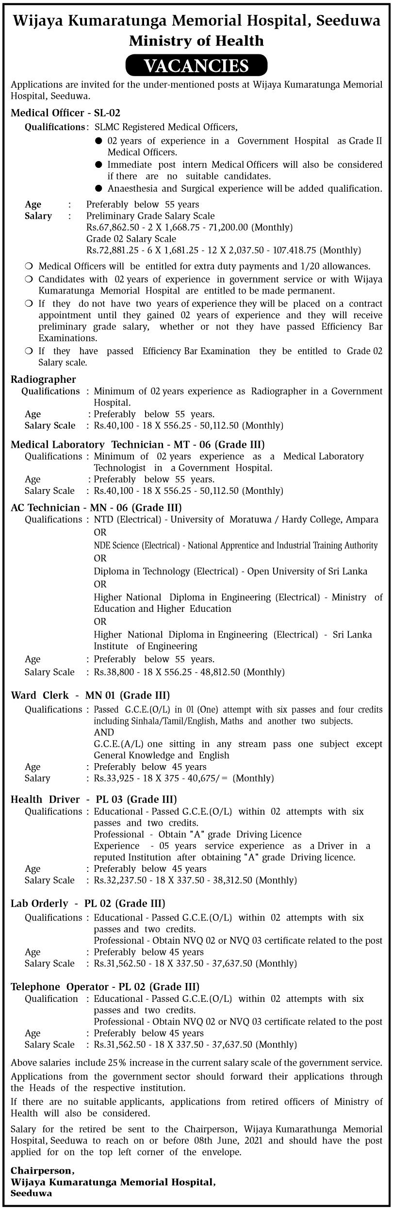 Wijaya Kumaratunga Memorial Hospital Vacancies